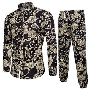Mens Casual Long Sleeve Shirt Business Slim Fit Shirt Print Blouse Top+Pants 1004