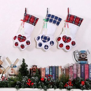 Caramelo DHL 10 # 1pc bolsa de tela escocesa de los bolsos del regalo de Navidad creativa linda del perro de animal doméstico del árbol del hueso de pescados garra de la pata media Calcetines de Navidad # 3