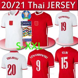 2020 equipa nacional 2021 Pol e Futebol Início branco afastado vermelho LEWANDOWSKI Milik Piszczek Piatek Grosicki Jersey camisas do futebol uniforme