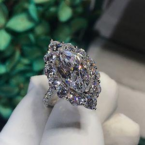 Vintage Marquise cortar 3CT Lab anel de diamante 925 prata Bijou noivado casamento banda Anéis para as Mulheres Partido nupcial Jóias 201114