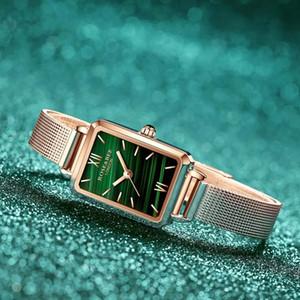 Luxury Malachite Japanese Ladies' Watch Genuine Leather Strap Green Malachite Quartz Lady First Layer Cowhide Belt Rose Gold Women Watches
