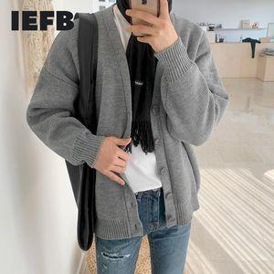 IEFB Kore hırka kintted kazak erkekler için tek göğsü kintted üstleri sonbahar kış bağbozumu kintwear ceket 9Y4542 eğilim