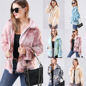 Fashion Women Winter Coat New Artificial Fur Coat Tie-Dye Plush Teddy Mujer Femme Zipper Casual Warm Elegant Clothes