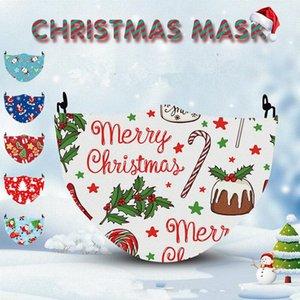 New Christmas Digital Mask PM2.5 Ponder impermeabile 3D stampato natale maschera di cotone Panno di cotone può essere sostituito da Maschera filtrante FWD2715