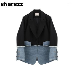 Sharezz Spring 2020 New Fashion Women Denim Patch Jacket Coat Slim Fit Long Sleeve Asymmetrical Blazer Tops Office Tide1