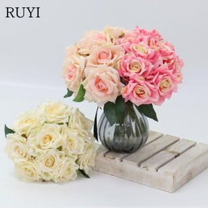10pcs lot Bouquet Artificial Rose Flowers Real Touch Fake Flowers for Wedding Bridal Hands Hold Valentine's Day Party Home Decor