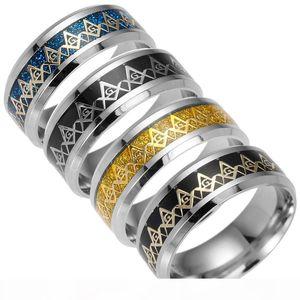 Титановый сталь Freemason Finger Ring Silver Gold Freemasonry Sign Ring кольца для женщин Men Jewelienge 080176