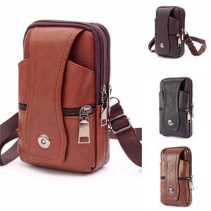 Hombres PU cuero fanny cintura bolsa clásico textura creativa delicado diseño elegante negocio sólido teléfono móvil banda BIG