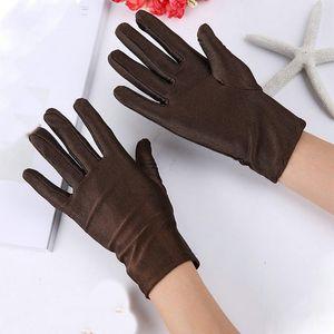 1pc Unisexsommer-Silk hohe elastische Spandex-Auto-Handschuhe anzeigen Etiquette Sunscreen Cotton Thin Arbeit Bunte Fahrer-Handschuhe