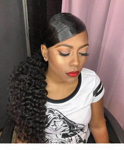 Adatti riccio ponytail acconciatura onda profonda coulisse ponytail della clip hairpiece 100g-160g in estensione brasiliana dei capelli ponytail 1b blac naturale
