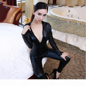 Hot Sexy Women Body Suits Fetish Leather Dress Sexy Black Catwomen Jumpsuit Spandex Latex PVC Catsuit Costumes plus size S-XL