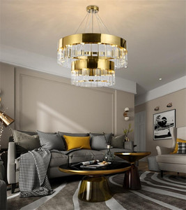Light  simple led crystal chandelier stainless steel Nordic living room dining room pendant lights bedroom study pendant lamps