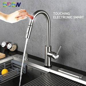SDSN الذكية اللمس تحكم صنبور الفولاذ المقاوم للصدأ سحب خلاط صنبور الاستشعار المطبخ الحنفيات T200424