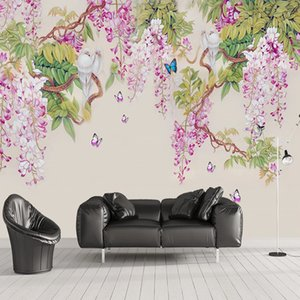 Custom 3D Mural Wallpaper Classic Hand Painted Wisteria Flower Butterfly Wall Painting Living Room TV Sofa Dining Room Wallpaper