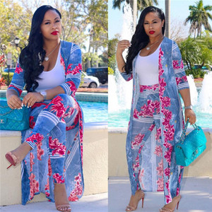 Coat Cape Fashion Casual Suits Plus Size Women Clothes Women 2 Piece Clothing Set Sexy Digital Print Long
