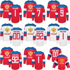 2016 Equipo de la Copa Mundial Rusia Hockey para hombres Jerseys 9 ORLOV 7 KULIKOV 1 VARLAMOV 92 KUZNETSON WCH 100% Jersey cosido Cualquier nombre y número