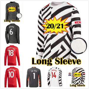 2020 2021 FC manchester away B. FERNANDES POGBA long sleeve soccer jerseys 20 21 MARTIAL Lingard LS football shirt united UTD uniforms kit