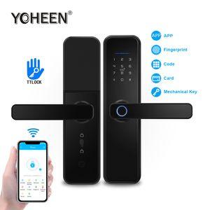 cerradura YOHEEN TTlock aplicación Bluetooth Wifi biométrico de huellas dactilares puerta trabajo bloqueo inteligente de electrónica digital con Alexa