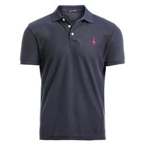 Negizber Yeni Adam Polo Gömlek Erkek Rahat Geyik Nakış Pamuk Polo Gömlek Erkekler Kısa Kollu Yüksek Miktar Polo Erkekler