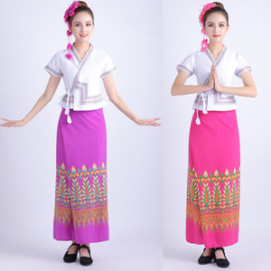 National style women Thailand traditional clothing Asia & Pacific Islands Costume festival Stage wear Performance Dance Dresses