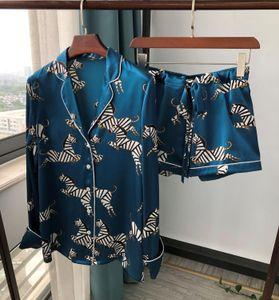 100% Silk Zebra Print Women Pajamas Lady Long Pants Shorts Blouse Nightshirt Casual Home Service Sleepwear Shirt Tops
