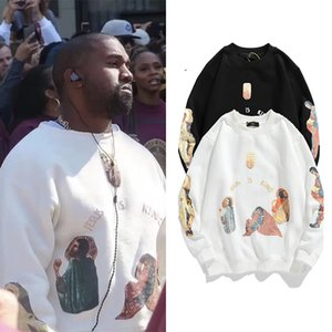 Kanye West Men Streetwear Pullovers Jesus Is King Print Pullover Hoodie Plus Velvet Hip Hop Bieber Sweatshirts Q0105