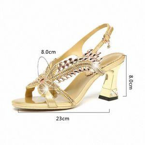 2020 Women Summer Shining Rhinestone Sandals Fish Mouth Shoes Diamond Heel Korean Sandals High Heeled Roman Fashion xGVh#