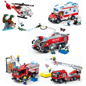 GUDI City Medical Ambulance Rescue Helicopter Emergency Ladder Airport Fire Truck Building Blocks Firemen figures set kids Toys 1008