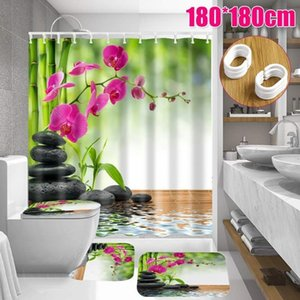 1.8X1.8M Flower 3D Waterproof Polyester Shower Curtain Bathroom with 12 Hooks Pedestal Rug Lid Toilet Cover Bath Mat Set 201103