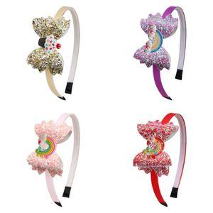 Baby Rainbow Unicorn Headband Sequin Cake волосы палочки мультфильм дети девочек сияющих лук PVC повязка на голову дети аксессуары для волос 516 к2
