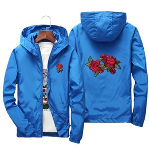 2020 spring new rose embroidery fashion casual hooded jacket for men and women can wear big size European size XXS-4XL