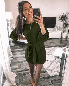 Herbst Frauen reine Farbe des Kleid beiläufige lose mit Rundhalsausschnitt Weibliche Kleider Modedesigner Laterne Hülsen-Damen-Kleidung mit Schärpen