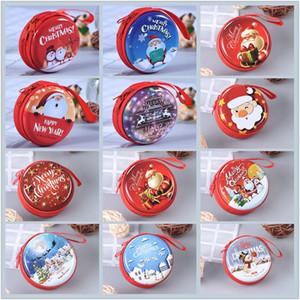 Творческий жестяной Рождество монета кошелек мини портативный круглый молния наушники сумка мультфильм ключ монета мешок хранения FWF2388