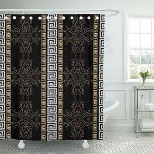 Tela cortina de ducha Ganchos de rayas barroco Negro antiguo de época medieval damasco florece con hojas y volutas de oro X1018