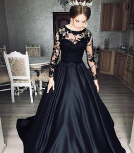 Black Evening Dress Long Sleeve A-Line Satin Sweep Train Lace Appliques Women Party Gowns Special Occasion Elegant Brilliant