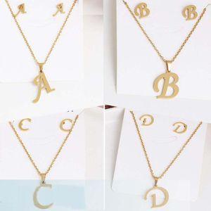 26 Carta collares con aretes en oro del acero inoxidable Gargantilla inicial colgante collar de la mujer del alfabeto Cadenas de joyería