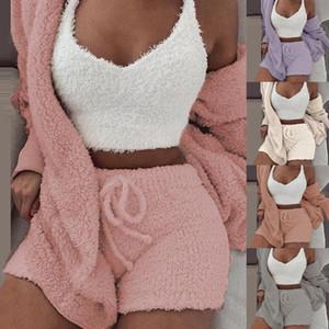 Plush Tracksuit Women 3 Pieces Set Sweatshirts Sweatpants Sweatsuit Jacket Crop Top Shorts Suit Sports Suit Jogging Femme 2020
