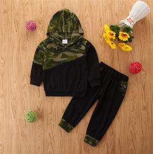 Criança meninos roupas camuflagem bebê menino com capuz pullover calças 2 pcs set manga longa crianças roupas conjuntos de moda crianças roupas dw5943