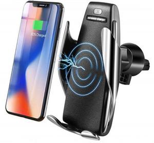 아이폰 안드로이드 범용 휴대폰 1의 경우 S5 자동 클램핑 10W 치 무선 자동차 충전기 360도 회전 벤트 마운트 전화 홀더