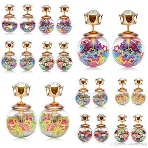 Moda Double Sided perla orecchini delle signore delle donne di cristallo trasparente Cubic Zirconia CZ fissano Earings Per Ragazze gioielli regalo