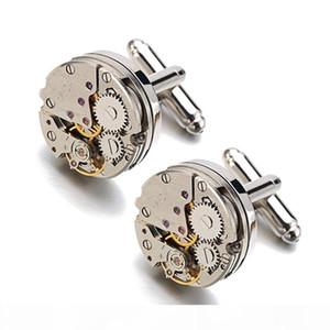 Men Business Watch Movement Cufflinks of immovable Lepton Steampunk Gear Watch Mechanism Cuff links for Mens Relojes gemelos