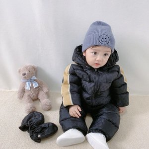 New Winter Jumpsuit Baby Girl Boy Snowsuit Kids Boy Outerwear Overalls Baby Thick Hooded Rompers with Gloves and coat
