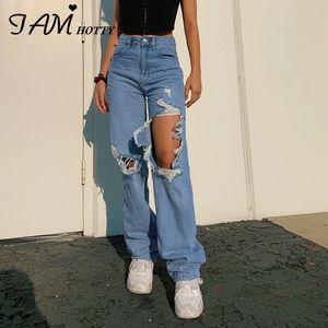 Rasgadas das Mulheres reta cintura alta jeans largos Vintage Namorados Mom y2k Denim afligido Streetwear 2020 Female Iamhotty C1008