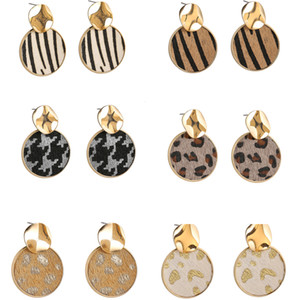 Fashion Leather Earrings for Women Leopard Print Dangle Leather Earrings Animal Print Round Earrings Drop Earring Valentine's Day Gift