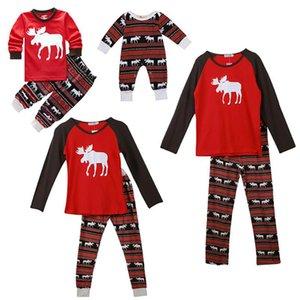 Popular europeu e américa Natal pai-criança roupas domésticas pijamas conjunto vermelho elk crianças roupas de natal.new!