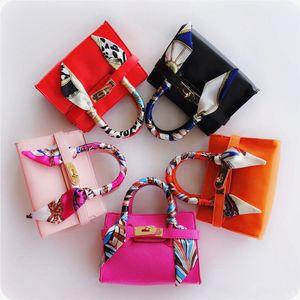 New Kids Tote Bag With Scarf Stylish Child Handbag Designer Kid Girl Purses Shoulder bags Fashion Children Handbags Mini Baby BAG Gift CM002