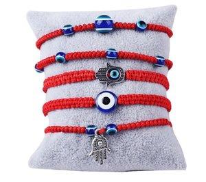 Thread Adjustable Lucky Bracelet Kabbalah Red String Hamsa Bracelets Blue Turkish Evil Eye Charm Jewelry FatimaEP30