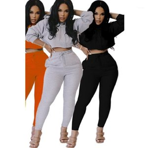 Womens 2 Piece Jogger Set Fall 2020 Hooded Neck Long Sleeve T Shirt Sweatshirt Hoodie Set Pocket Two Piece1