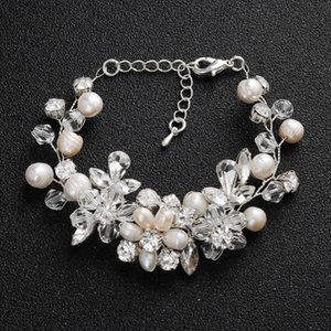 SLBRIDAL Handmade Silver Clear Crystal Wedding Bracelet Rhinestones Freshwater Pearls Bridal Bracelet Bridesmaids Women Jewelry