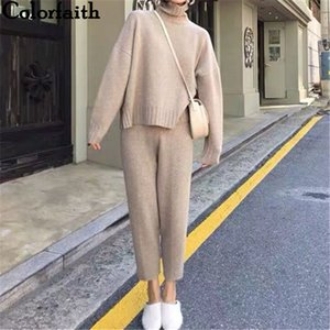 Colorfaith Yeni Sonbahar Kış Kadın İki Adet Set Kazaklar Pantolon Lounge Giyim Örme Bölünmüş Minimalist Stil WS8222 201.009 ayarlar